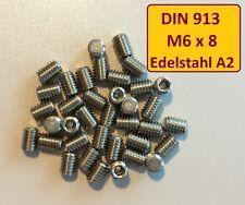 DIN EN ISO 4026  M6x8 A2 Edelstahl Stiftschraube Madenschraube 25 Stück