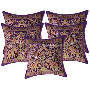 Indian-Pillow-Case-Brocade-Silk-Elephant-Purple-Cushion-Cover-5pcs-Set-Throw-12-034