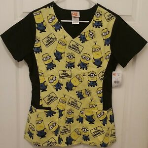 953ffae1 Details about DESPICABLE ME Small Women's Medical Smock Nurse Scrub Top  Shirt NEW