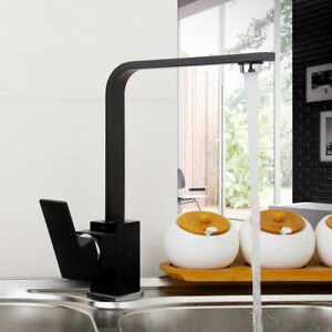 Black Single Handle Bath Basin Sink Cold Hot Mixer Tap Kitchen