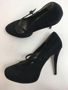 WOMENS-DOROTHY-PERKINS-BLACK-FAUX-SUEDE-FOOT-STRAP-HIGH-HEEL-PLATFORM-SHOES-UK-8