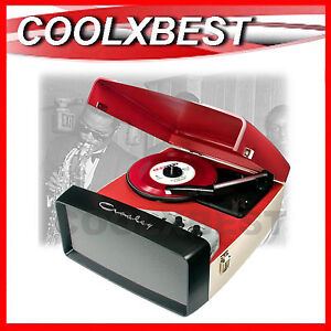 NEW-CROSLEY-COLLEGIATE-RED-TURNTABLE-RECORD-PLAYER-w-SPEAKER-USB-ENCODE-AUX-IN
