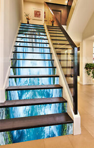 Image Is Loading 3D Waterfall Blue Stair Risers Decoration Photo Mural