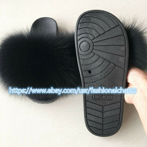 Max Large XXL Real Fox Fur Slides Women/'s Slippers Indoor Ourdoor Furry Shoes