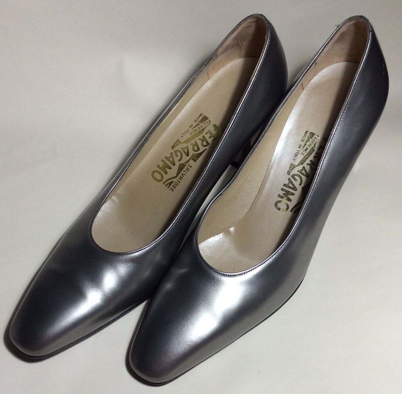 Salvatore Ferragamo  Silver Metallic  Shiny Pumps Heels