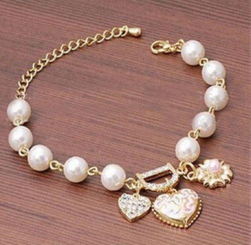 Women Jewelry Pearl Love Heart Flower Crystal Bracelet Bangle Charm Gift Fashion