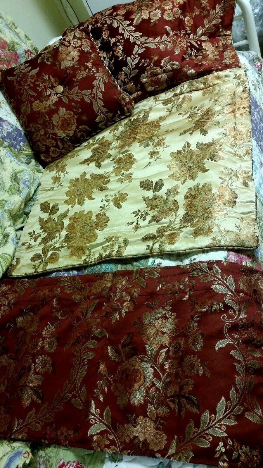 gold Cinnamon Damask Pattern 2 Euro Reversible Shams1 Valance- 1 Accent Pillow
