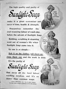 Old-Antique-Print-1904-Advertisement-Sunlight-Soap-Lever-Brothers-England-20th