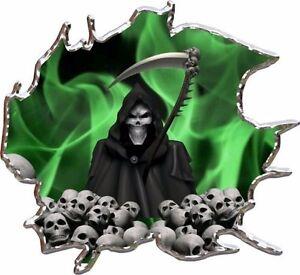 Green Flame Grim Reaper Skulls Race Car Go Kart Vinyl