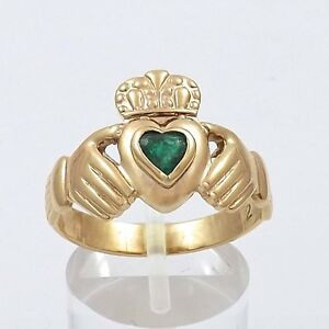 10K-Gold-Emerald-Heart-Celtic-Claddagh-Ring-Sz-9-Made-in-Ireland