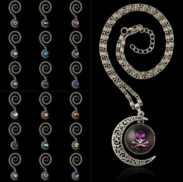 VINTAGE WOMEN TRENDY GALACTIC GLASS CABOCHON SILVER-TONE CRESCENT MOON NECKLACE