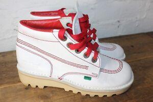 Retro-70s-Kickers-Rojo-Blanco-Botas-al-Tobillo-Zapatillas-Sneakers-UK-3