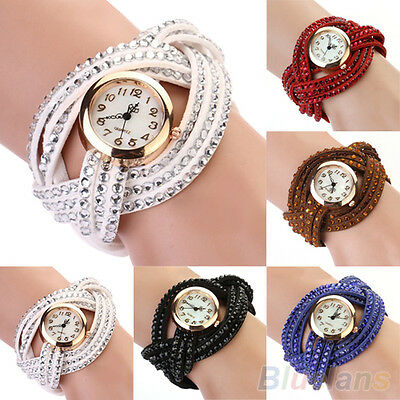 Women's Charm Nice Vintage Rhinestone Weave Wrap Leather Bracelet Wrist Watch