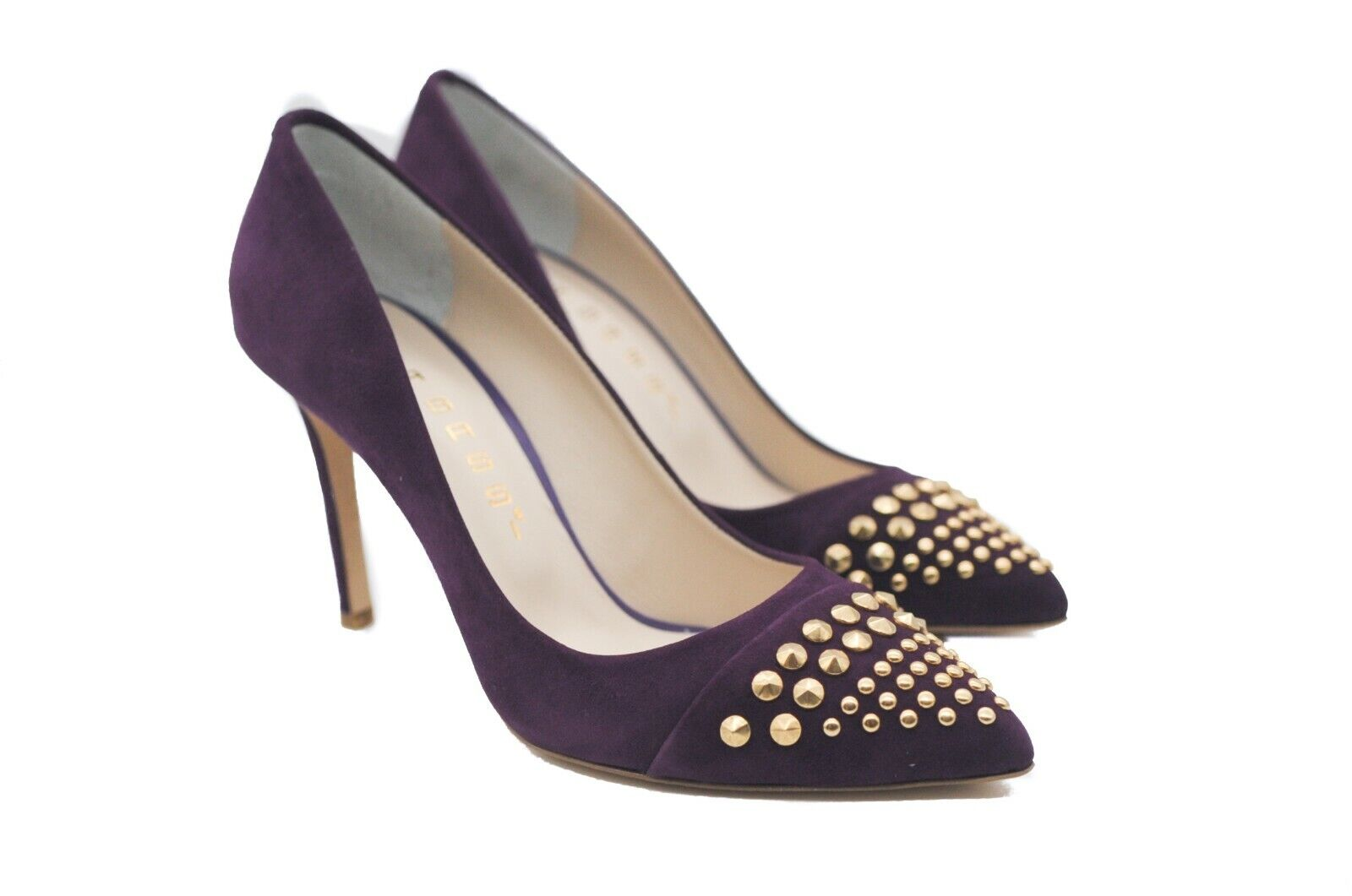 Goody2shoes Ladies' Magenta Court shoes Pumps with gold Studded Toe Detail