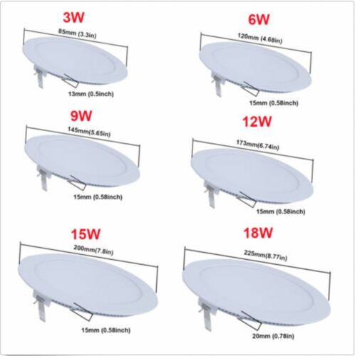 9W 12W 18W 24W LED Recessed Ceiling Panel Down Lights Fixture Lamp (4 pack)