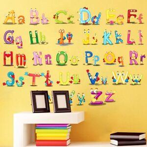 Alphabet-ABC-Wandsticker-Wandtattoo-Kinder-Aufkleber-Buchstaben-Wandaufklebe-Neu