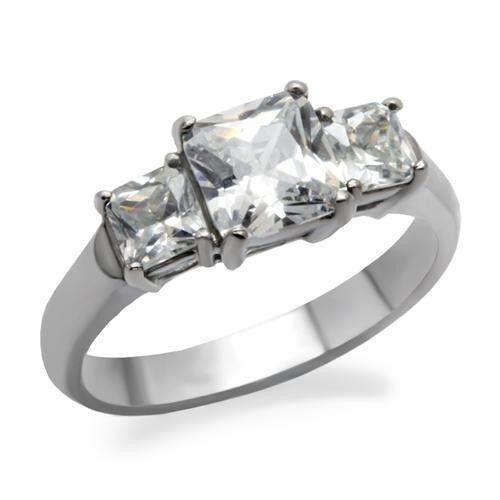bTK058pb PRINCESS CUT 3STONE 2.65CT SIMULATED DIAMOND RING  STAINLESS STEEL