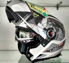 LS2 Helmet-FF386 Universe WhiteSilver-Flip-Up Modular Imported Motorcycle Helmet
