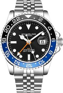 Stuhrling-Aqua-Diver-3968-Swiss-Quartz-Men-039-s-Silver-Bracelet-Black-Dial-Watch