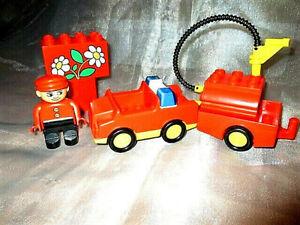 Lego-Duplo-Feuerwehr-Figur-Auto-Anhaenger-Schlauch-Tank-Loeschfahrzeug-Fahrzeug