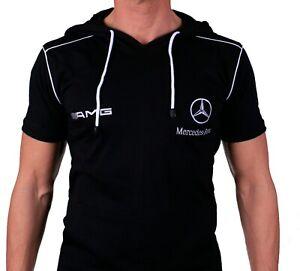 T-shirt-a-capuche-r-d-s-G-avec-poches-Sweat-brode-Homme-Coton-Noir-Auto-63