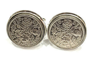 61st Birthday 1958 Luxury Silver Sixpence Coin Cufflinks Boxed Great Gift