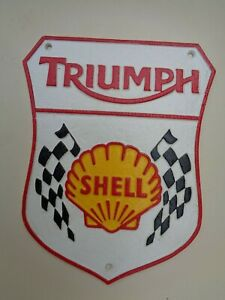 SHELL / TRIUMPH Cast METAL SIGN with Chequered Flag .... superb gift ref cm