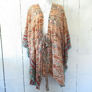 New-Gigio-By-Umgee-Kimono-L-Large-Peach-Floral-Paisley-Tie-Front-Boho-Peasant