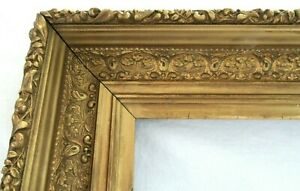 BIG-ANTIQUE-FITS-16-7-X-20-6-GOLD-PICTURE-FRAME-ORNATE-WOOD-FINE-ART-COUNTRY