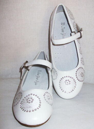 GIRLS WHITE SEQUIN CIRCLE PATTERN FORMAL BRIDESMAID PARTY SHOES size 10-3