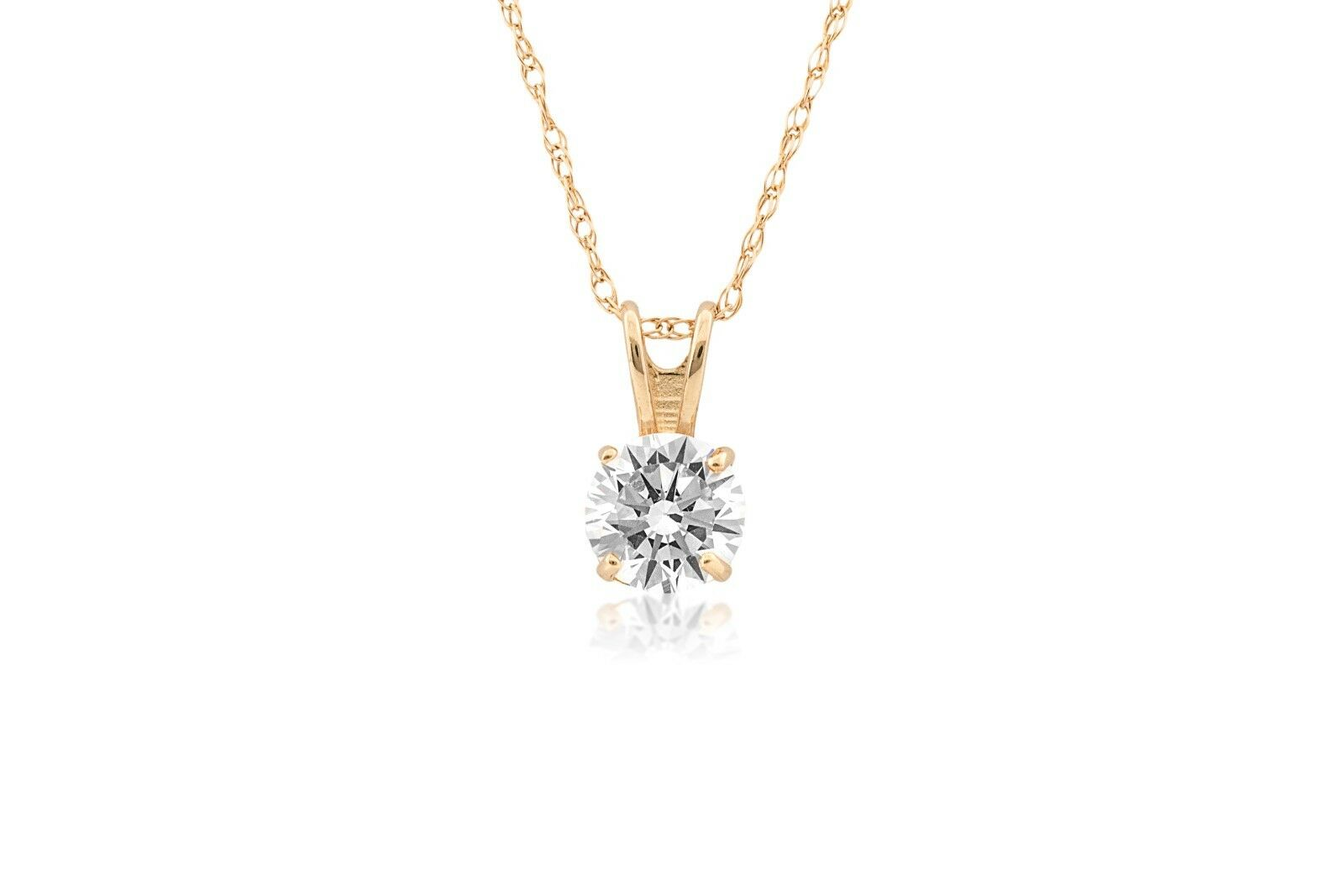 0.25Ct Round Solitaire Created Diamond 14K Yellow gold Pendant With Rope Chain