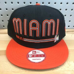 Miami-Marlins-MLB-Baseball-New-Era-9FIFTY-SnapBack-Cap-EUC-Black-amp-Orange-Hat