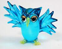 Sky Blue OWL Bird Handmade Figurine Miniature Animal Hand Blown Glass Handcraft