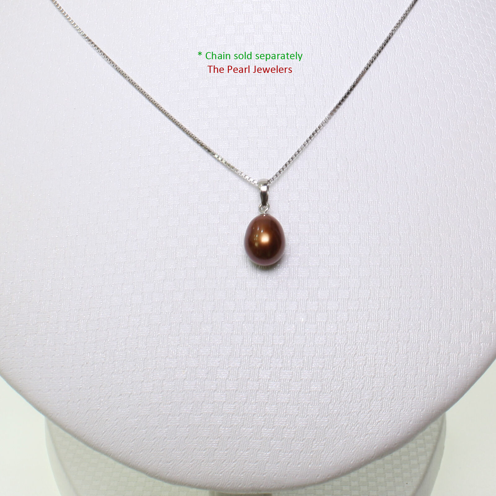 AAA 7-7.5mm Chocolate Cultured Pearl Pendant 14k White Solid gold Bale TPJ
