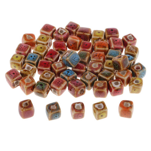 50x Flower Glaze Ceramic Porcelain Beads Charms for Jewelry Making Bracelets