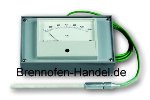 Efco Temperatur Messgerät bis 1200 C° mit Fühler Brennofen Modellbau Silber