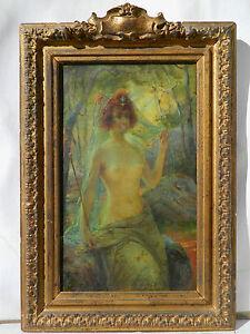 Antoine-Auguste-THIVET-1856-1927-PORTRAIT-JEUNE-FEMME-NUE-Tableau-Peinture-Huile