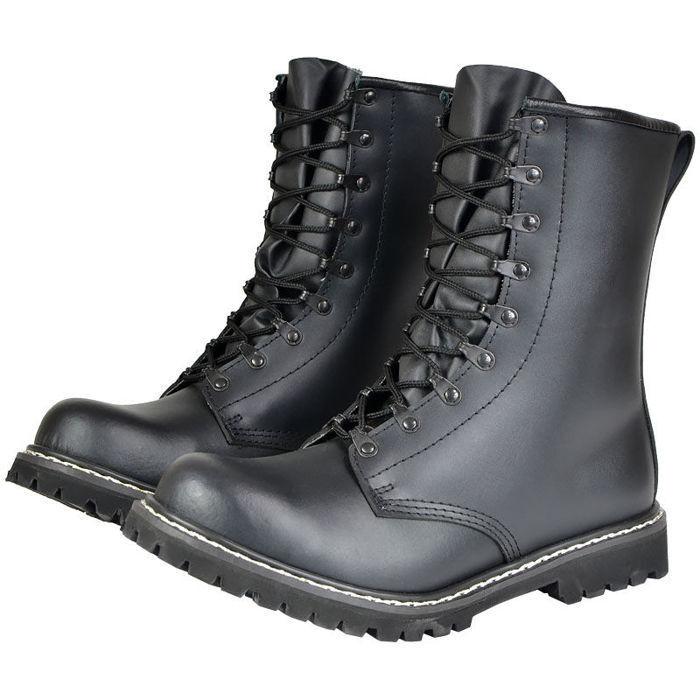 Mil-Tec Leder Springerstiefel PARA BW Stiefel m. Stahlkappe black 37–50