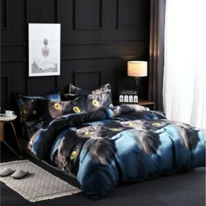 3D-Effect-Duvet-Cover-Sets-with-Pillow-Case-Sham-Chic-Cat-Printing-Single-Double