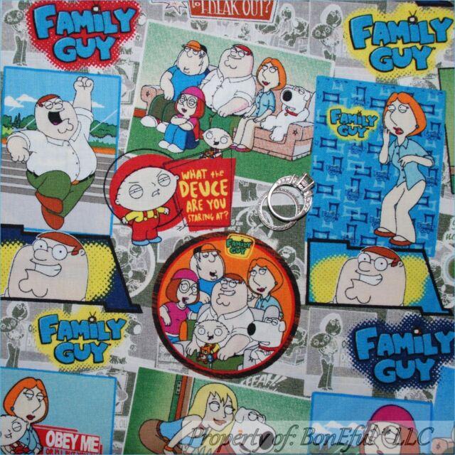 BonEful Fabric FQ Quilt B&W Color Family Guy Cartoon Comic Adult Block Patchwork