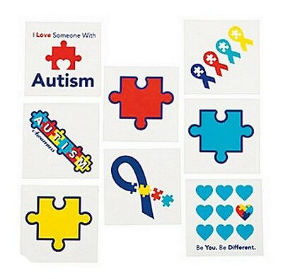 Autism Awareness TATTOOS Puzzle Piece Ribbon Aspergers Temporary Lot of 36
