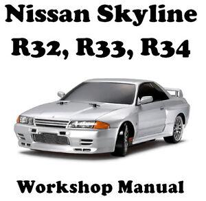 nissan skyline r32 r33 r34 workshop manual on cd ebay rh ebay com au nissan skyline r33 workshop manual free download r33 gtst workshop manual download