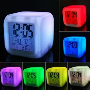 7 Colors Change Digital LED Glowing Alarm Clock Calendar Thermometer Date Time
