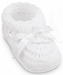 Christening-White-Crochet-Booties-Shoes-Hand-Knit-Newborn-Infant-Girls-Baptism