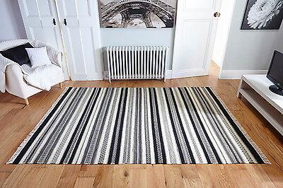 Black & Cream Ankhara 1011 Striped Handwoven Wool Kilim Rug Runner S- L 30%OFF