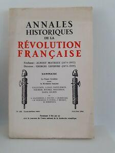 Revista Anales Históricos de La Revolution Francaise Abril-Junio 1966 N º 184