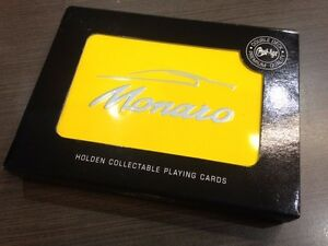9324 HOLDEN MONARO YELLOW DOUBLE DECK OF PLAYING CARDS IN COLLECTABLE TIN