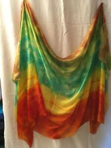 Belly-dance-costume-veil-silk-hand-dyed-in-US-brown-green-yellow-orange
