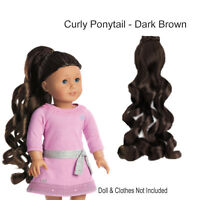 American Girl My Ag Curly Ponytail Dark Brown For 18 Doll Hair Extension