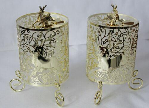 11 x 7 cm Weihnachten Kerzenständer 2 x Teelichthalter Hirsch mit Propeller ca
